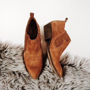 Lucky Brand Joelle cognac leather western booties